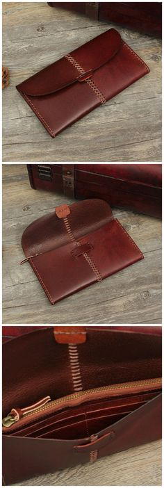 Hand Stitched Full Grain Vegetable Tanned Leather Long Wallet Purse