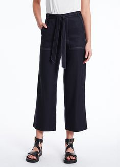 MARCS   Pants & Jeans - EVA STRETCH LINEN CULLOTE Top Stitching, Dobby, Welt Pocket, Jeans Pants, Stretches, Women Wear, Female, Model, September
