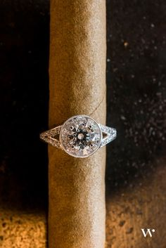 Maple Leaf Diamond ~ Tapered Baguette Halo surrounding a round brilliant Canadian Maple Leaf Diamond. Engagement Ring Guide, Diamond Engagement Rings, Diamond Jewelry, Diamond Earrings, Canadian Maple Leaf, Canadian Diamonds, Diamond Mines, Thing 1, Baguette