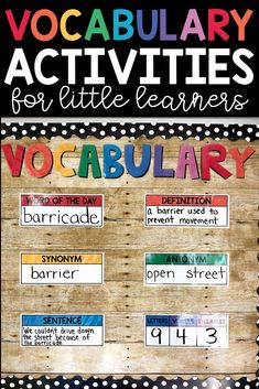 Are you required to teach a list of vocabulary words each week? Check out this list of vocabulary activities for little to help teach students to read! List Of Vocabulary Words, Vocabulary Graphic Organizer, Vocabulary Word Walls, Teaching Vocabulary, Vocabulary Worksheets, Vocabulary Activities, Teaching Reading, Vocabulary Instruction, Spanish Activities