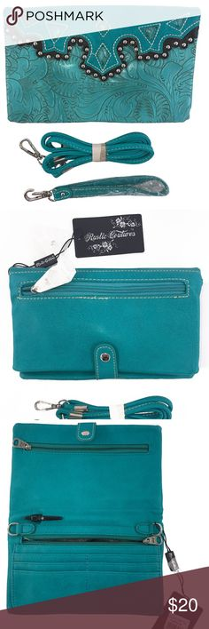 4 in 1 Clutch, Purse, Phone holder, Wallet. This versatile western style 4 in 1 (Clutch-Purse-Wallet-Phone Holder) by Rustic Couture's is stunning as it's trendy. it has female friendly features that is sure to make an instant hit! The exteriors are made from high-quality faux leather in a rich Turquoise color with black trim. The front features a beautiful western design surrounded by stud accents. it comes with a cross body strap and a clutch strap. Inside are credit card slots, zippered…