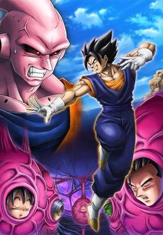 Dragon Ball Z - Buu vs. Vegito Vs Buu, Buu Dbz, Saga Dragon Ball, Dragon Ball Z Shirt, Best Cartoons Ever, Cool Cartoons, Super Buu Gohan, Akira, Madara Wallpaper