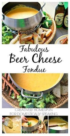Fabulous Beer Cheese Fondue Recipe Creatively Homespun For Domestically Speaking Dips Für Fondue, Cheese Fondue Dippers, Fondue Raclette, Fondue Party, Fondue Ideas, Cheese Fondue Recipes, Best Cheddar Cheese Fondue Recipe, Crockpot Fondue, Cheese Sauce