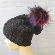 Excited to share the latest addition to my #etsy shop: Mens Knit Hat, Brown Slouchy Beanie with Fur Pom Pom, Men's Street Fashion http://etsy.me/2GJ5oBu #accessories #hat #brown #sluchybeanie #teenboynicehat #woolcapformen #nicehatforboy #brownbeanieformen #menswoolkni