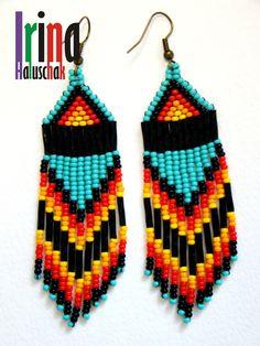 seed bead earring, art, craft. handmade, DIY, beadwork, blue, yellow, white, black, Ukraine, http://irina-haluschak.blogspot.com/