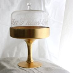 Let Them Eat Cake Etched Glass cake stand by MilkandHoneyLuxuries, $50.00