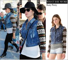 katy perry, jacket, denim, sweater, fashion, streetstyle,
