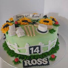 Combined Birthdays - Mom & Son #halfhalf #sunflowers #cricket #cricketbat #cricketball #wickets #hat #cake #dlish Mom Birthday, Birthday Cakes, Wickets, Hat Cake, Cricket Bat, Mom Son, Sunflowers, Birthdays, Unisex