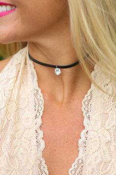 Best Around Black Choker Necklace at reddressboutique.com