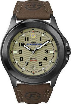 Timex Men's Expedition Field Watch In Gunmetal Brass With Brown Leather Strap Multi Casual Watches, Cool Watches, Watches For Men, Field Watches, Sport Watches, Timex Indiglo, Timex Expedition, Brown Leather Strap Watch, Timex Watches