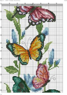 Butterfly cross stitch and chart. Butterfly Cross Stitch, Cross Stitch Bird, Beaded Cross Stitch, Cross Stitch Borders, Cross Stitch Animals, Cross Stitch Flowers, Cross Stitch Charts, Cross Stitch Designs, Cross Stitching