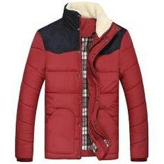 Flocking Stand Collar Splicing Design Long Sleeve Thicken Cotton-Padded Jacket For Men - Red - Mens Winter Coat, Winter Jackets, Men's Jackets, England Fashion, Padded Jacket, Swagg, Flocking, Clothes, Shopping