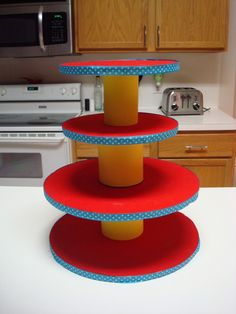 Used this how-to to make a cupcake stand for Norah's BD party last year. So easy and cute! I used a vinyl tablecloth instead of paper to cover the rounds, so it's reusable, too :)