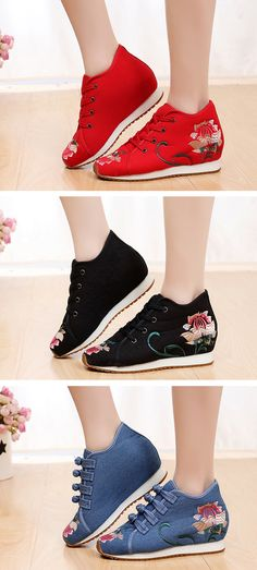 adf439955 US$31.50 Floral Hidden Heel Embroidery Casual Shoes High Platform Shoes,  Knit Shoes, Sock