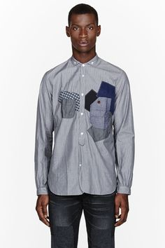 JUNYA WATANABE Blue pinstriped patchwork button down
