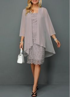 Women's Chiffon Cardigan And Sleeveless Lace Dress Sleeve Grey Elegant Dress Chiffon Cardigan and Sleeveless Lace Dress Trendy Dresses, Women's Fashion Dresses, Dresses For Sale, Casual Dresses, Dress Sale, Mother Of Bride Outfits, Mother Of The Bride, Chiffon Cardigan, Chiffon Dresses