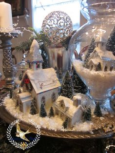 Feathers & Flight: Winter White Christmas Table Scape - there are some very pretty little white glitter and glass vignettes @ this blog page.