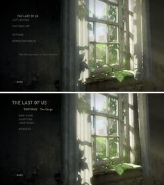 "Main Menu UI (User Interface) for the game ""The Last of Us"" Copyright Naughty Dog – Screenshots taken on PS4 Console by Pinterest user: @fabianzaf"