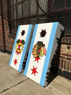 Chicago State Flag Skyline Cornhole Board Set Making Things Convenient For Customers Backyard Games
