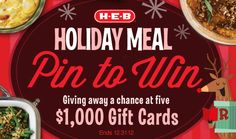 I just entered to win a 1000.00 gift card in the H-E-B Holiday Meal Pin to Win Sweepstakes!  Click here to enter: https://www.facebook.com/HEB/app_478385802182744