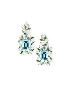 18K+White+Gold+Tsavorite+&+Aquamarine+Earrings+with+Diamonds+by+Alexander+Laut+at+Neiman+Marcus.