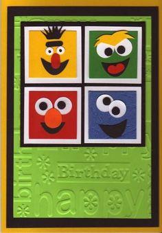Muppets by stampandshout – Cards and Paper Crafts at Splitcoaststampers - kids cards Kids Birthday Cards, Handmade Birthday Cards, Greeting Cards Handmade, Boy Cards, Kids Cards, Cute Cards, Punch Art Cards, Karten Diy, Marianne Design