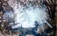 "'St. Nicholas Park - Harlem' Mixed Media On Card. 6x4""Inches. #RosannaJacksonWright #Art #Painting #Drawing #StNicholasPark #Harlem #Landscape #Abstract #Figurative #York #England #NYC #USA #Genoa #Italy #Mexico #Philippines #Kingston #Jamaica #Bronx #Harlem"