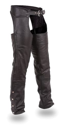 Unisex Classic Braided Leather Motorcycle Chaps by First Mfg Motorcycle Chaps, Motorcycle Leather, Motorcycle Outfit, Motorbike Clothing, Motorcycle Accessories, Biker Chick Style, Harley Gear, Harley Davidson Merchandise, Moto Pants