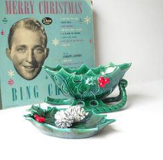 Lefton Christmas Sleigh & Tray  Green by MomsantiquesNthings, $24.00