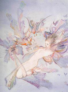 in : yoshitaka amano : version .watercolor fairy - by Yoshitaka Amano Pretty Art, Cute Art, Yoshitaka Amano, Drawn Art, Fairytale Art, Alphonse Mucha, Fairy Art, Japanese Artists, Aesthetic Art