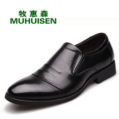 61.43$  Watch now - http://alieft.worldwells.pw/go.php?t=32745484145 - MUHUISEN Brand Genuine leather loafers Business leather shoes Black Comfortable Flat shoes Moccasins mocassim masculino 61.43$