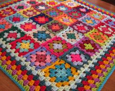 Crochet Granny Square Blanket Cath Kidston colors.