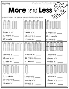 More and Less! (find the total number of popsicle sticks- find 1 more, 10 more and 10 less)