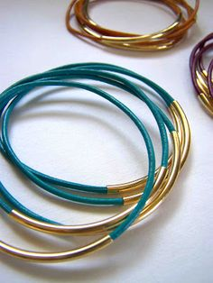 DIY Leather Cord Bangles and Leather Bracelets