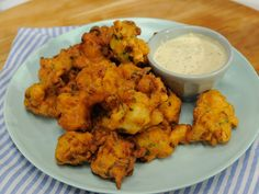 Shrimp Fritters with Cornichon Dressing Recipe : Geoffrey Zakarian : Food Network - FoodNetwork.com