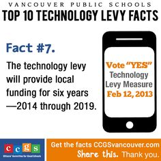 Vancouver Public Schools Technology Levy Fact #7. The technology levy will provide local funding for six years—2014 through 2019. http://ccgsvancouver.com