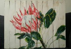Protea - Acrylic on wood - FOR SALE Protea Art, Protea Flower, Modern Paintings, Acrylic Paintings, Pallet Painting, Painting On Wood, Flower Canvas, Flower Art, Gate Ideas
