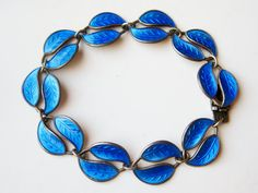 Vintage 60s Modernist David Anderson Norway Blue Guilloche Enamel Panel Link Bracelet by SoCalJewelBox www.socaljewelbox.etsy.com