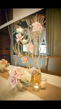Manzanita Centerpieces with base, hanging crystals and paper floral Manzanita Centerpiece, Pearl Centerpiece, Branch Centerpieces, Quinceanera Centerpieces, Wedding Centerpieces, Wedding Decorations, Diy Wedding, Wedding Flowers, Molduras Vintage