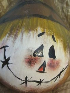 Thanksgiving scarecrow handpainted gourd by ThePaintedFig on Etsy, $25.00