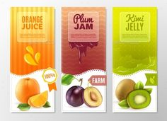 Orange juice plum jam and kiwi jelly 3 vertical colorful advertisement banners set abstract isolated vector illustration. Editable