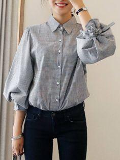 甘い印象キュートゆったり長袖折り襟リボン飾りストライプ柄シャツ