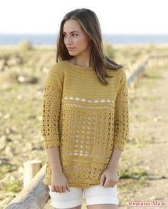Красивый легкий пуловер на лето. Размеры: S - M - L - XL - XXL - XXXL Материалы: пряжа DROPS COTTON MERINO от Garnstudio 550-600-650-700-800-850 грамм, цвет № 15, горчичный; крючок № 4 мм.