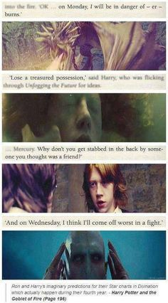 """Harry and Ron's """"fake"""" predictions in Divination Class."""