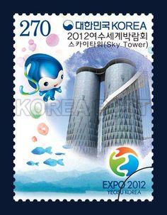 EXPO 2012 YEOSU KOREA STAMP, skytower, commemoration, white, blue, 2012 5 11, 2012여수세계박람회 기념우표년 2012년 5월 11일, 2863, 스카이타워, postage 우표