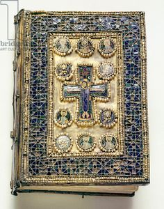A binding of a liturgical book which is richly encrusted with enamels and pearls Description This book cover was almost certainly looted in the Fourth Crusade of 1204 Culture: Byzantine Date/Period: probably 9th century Place of Origin: Byzantium Material Size: Enamel & pearl encrusted binding / Biblioteca Nazionale Marciana, Venice