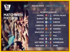 Barclays Premier League. Match week 1st Fixtures