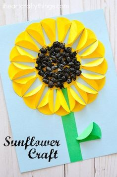 Gorgeous folded paper sunflower craft that makes a perfect summer kids craft, fun flower crafts for kids and paper crafts for kids.