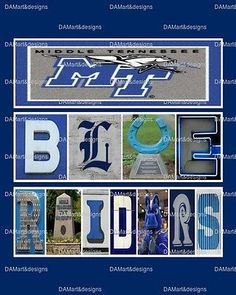 Middle Tennessee State University MTSU Framed Alphabet Photo Art