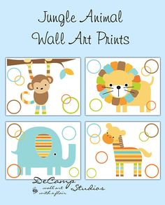 Mod Jungle Animals Wall Art Prints for baby boy nursery or children's safari room decor. Includes a monkey, lion, elephant, and zebra in blue, brown, green, and orange #decampstudios